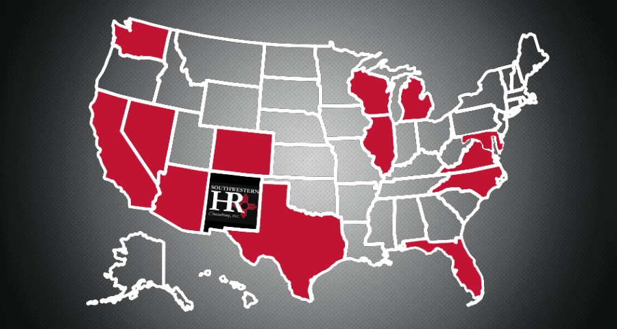 Southwestern HR Consulting States Served Map